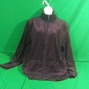 Spa by chico's M purple zip front sweater